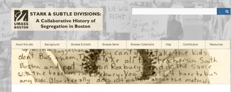 This collection of exhibits from History and American Studies students at UMass Boston frequently touches upon school desegregation in Boston using archival materials.