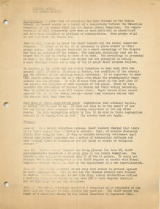 A page from NAACP Boston's typewritten timeline