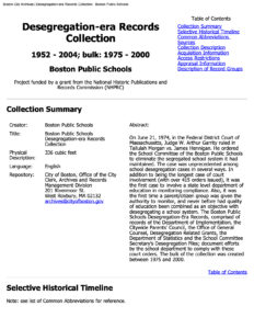 """First page of the """"Desegregation-era Records Collection"""" guide"""